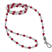 Dog Leash with Silver, Red & Pearl Beads