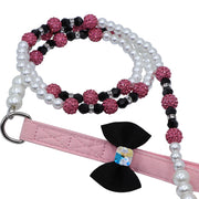 Dog Leash with Pink Crystals & Pearl Beads - Yap Wear Store Albert Park | Pet Boutique