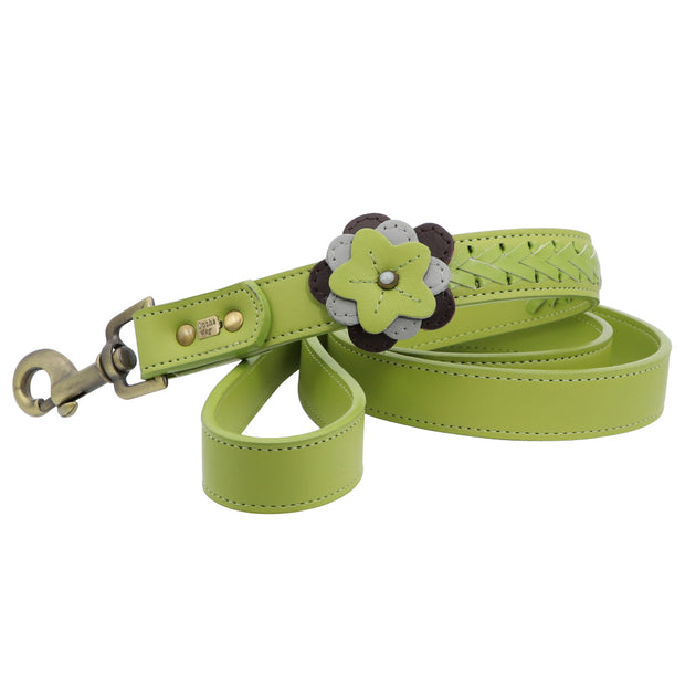 Dog Leash with flower motif - green