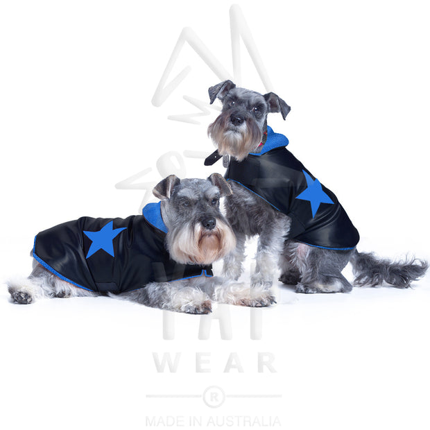 Pooch-Star Dogcoat - with coloured lining & matching coloured holographic stars - Yap Wear Store Albert Park | Pet Boutique