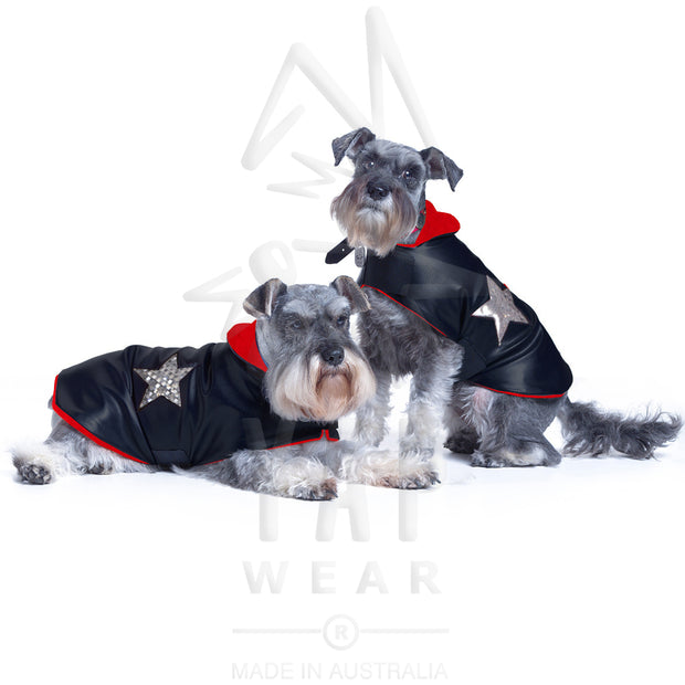 Pooch-Star Dogcoat - with coloured lining & silver holographic stars - Yap Wear Store Albert Park | Pet Boutique