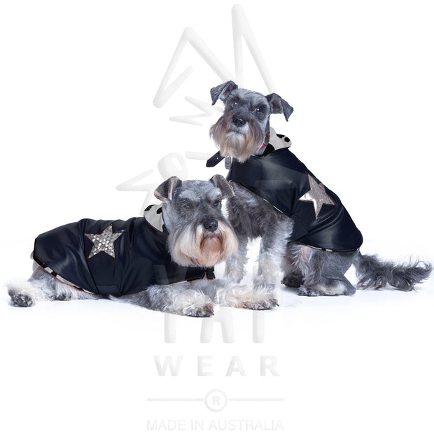 Pooch-Star Dogcoat: - waterproof w/ animal print lining & coloured holographic stars - Yap Wear Store Albert Park | Pet Boutique