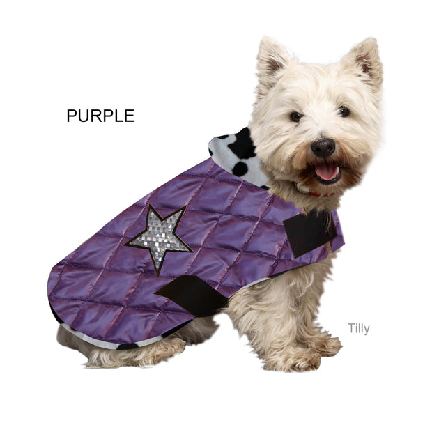 Dogcoat quilted/waterproof with animal print lining & silver holographic stars - Yap Wear Store Albert Park | Pet Boutique