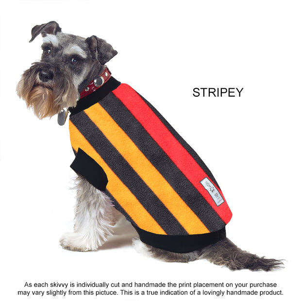 Dog Skivvy - Stripey print polar fleece: made in Australia - Yap Wear Store Albert Park | Pet Boutique
