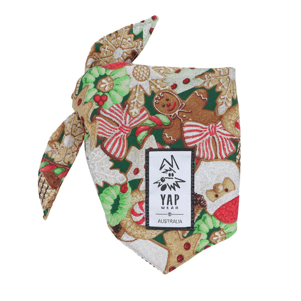 YAPPY Xmas Bandana - Gingerbread - Yap Wear Store Albert Park | Pet Boutique