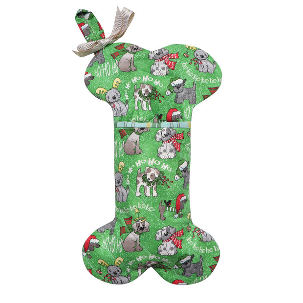 XMAS Doggie Bone Stocking - Green