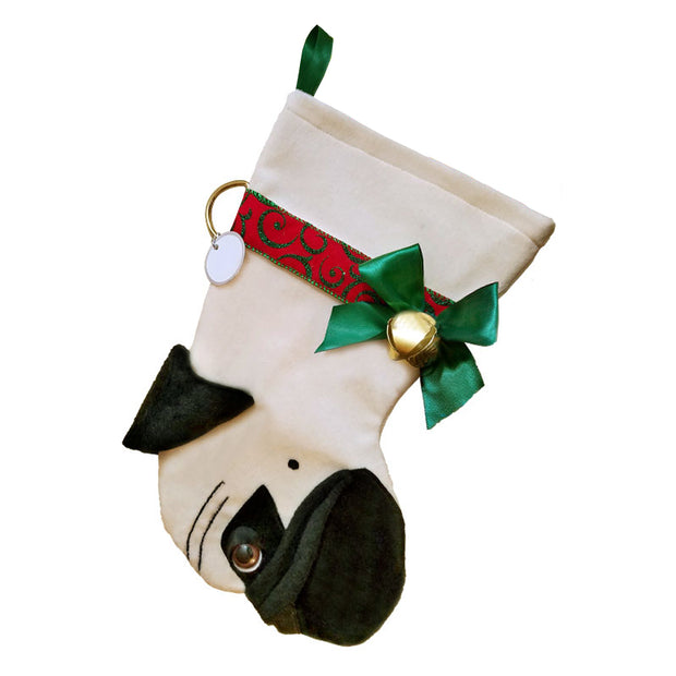 XMAS Pug stocking - Fawn - Yap Wear Store Albert Park | Pet Boutique
