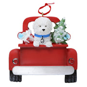 Christmas Bichon in red truck