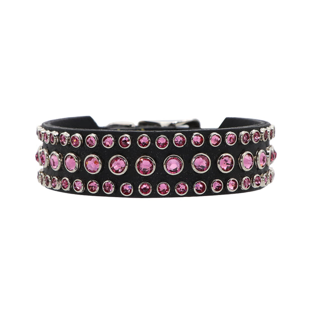 Black leather with 88 Hot Pink Swarovski crystals - Yap Wear Store Albert Park | Pet Boutique