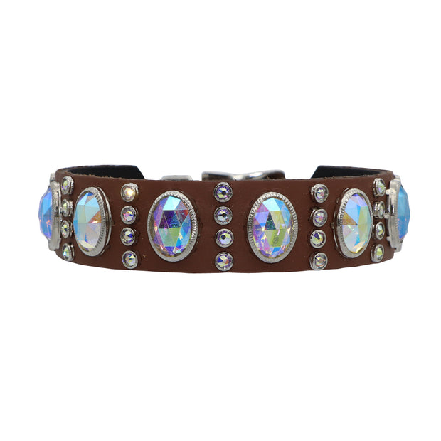 Dog Collar - Tan leather featuring 100% genuine Swarovski crystals in oval aboreal cut - Yap Wear Store Albert Park | Pet Boutique
