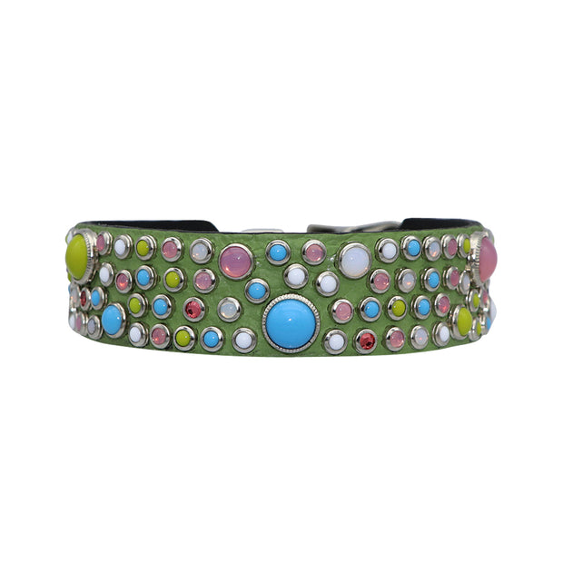 Dog Collar - Swarovski crystal & glass Cabachon on green leather - Yap Wear Store Albert Park | Pet Boutique