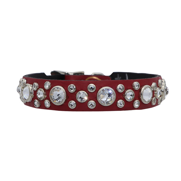 Dog Collar - Red leather with clear Swarovski crystals - Yap Wear Store Albert Park | Pet Boutique