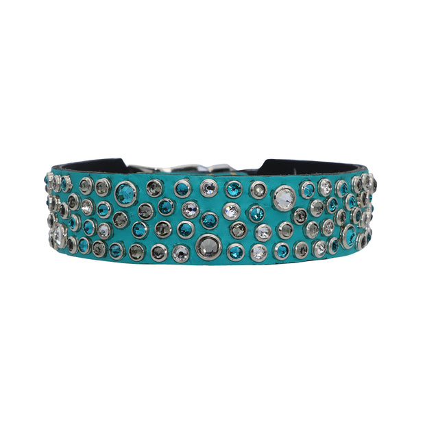 Dog Collar - Turquoise leather featuring a mix of clear and tonal 100% genuine Swarovski crystals - Yap Wear Store Albert Park | Pet Boutique