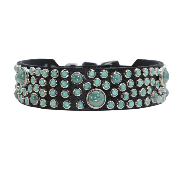 Dog Collar - Turquoise Swarovski glass Cabachons on leather - 2.5cm wide - Yap Wear Store Albert Park | Pet Boutique