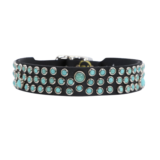 Dog Collar - Turquoise Swarovski glass Cabachons on leather - 2cm wide - Yap Wear Store Albert Park | Pet Boutique