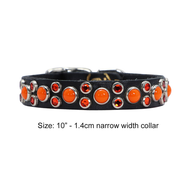 Dog collar - Chocolate leather with orange Swarovski crystals and glass Cabachons
