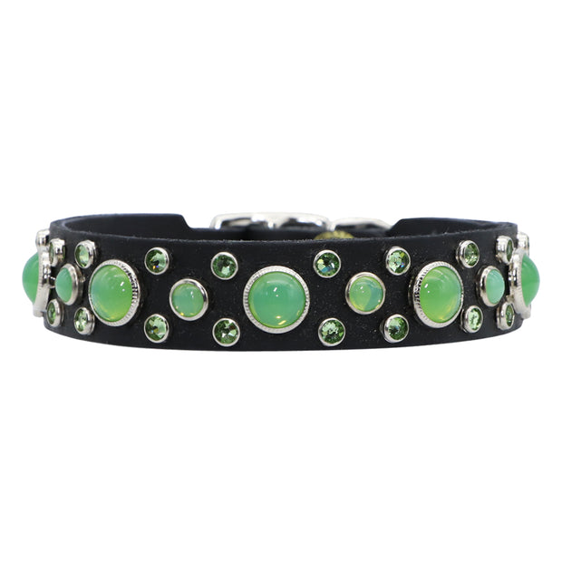 Dog collar - Green Swarovski crystals and glass Cabachons on black leather