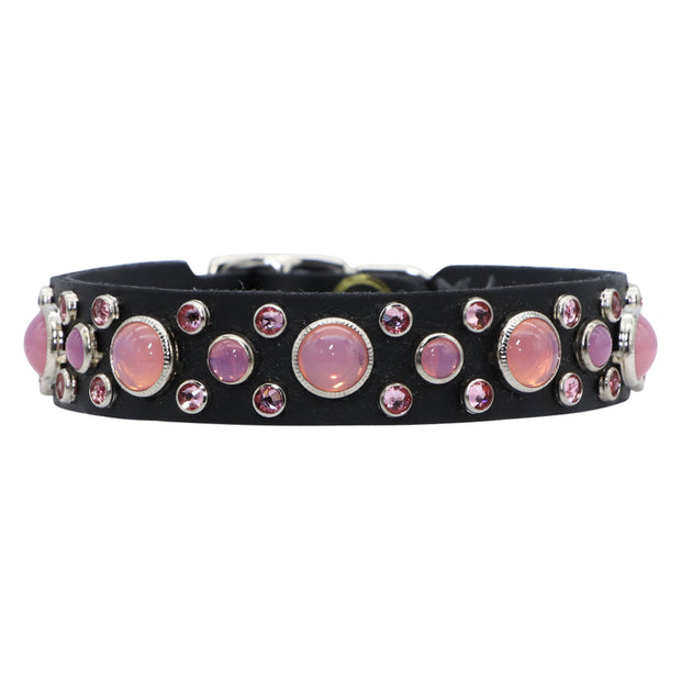Dog collar - Pink Swarovski crystals and glass Cabachons on black leather