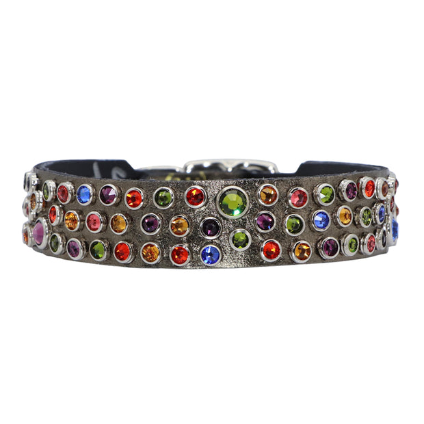 Dog Collar - Bronze leather with coloured Swarovski crystals