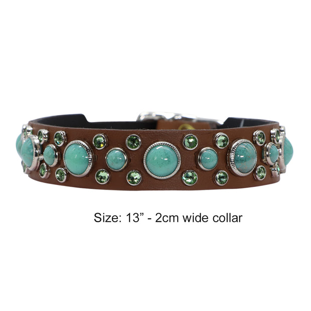 Dog collar - Tan leather with mint green Swarovski crystals and glass Cabachons - Yap Wear Store Albert Park | Pet Boutique