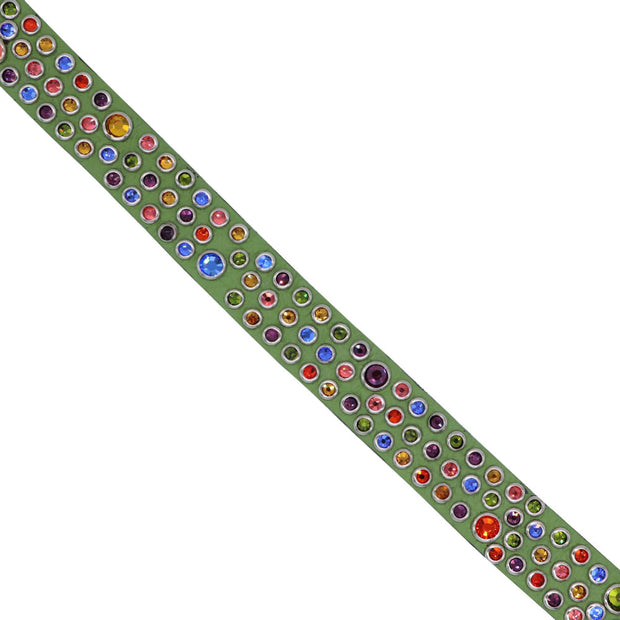 Dog Collar - Green leather with coloured Swarovski crystals