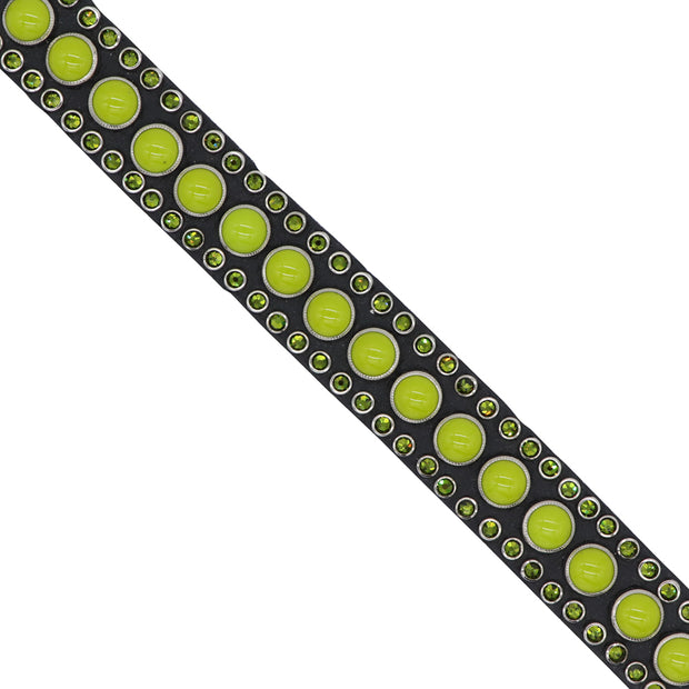Dog Collar - Lime Swarovski crystals & glass cabochons on black leather