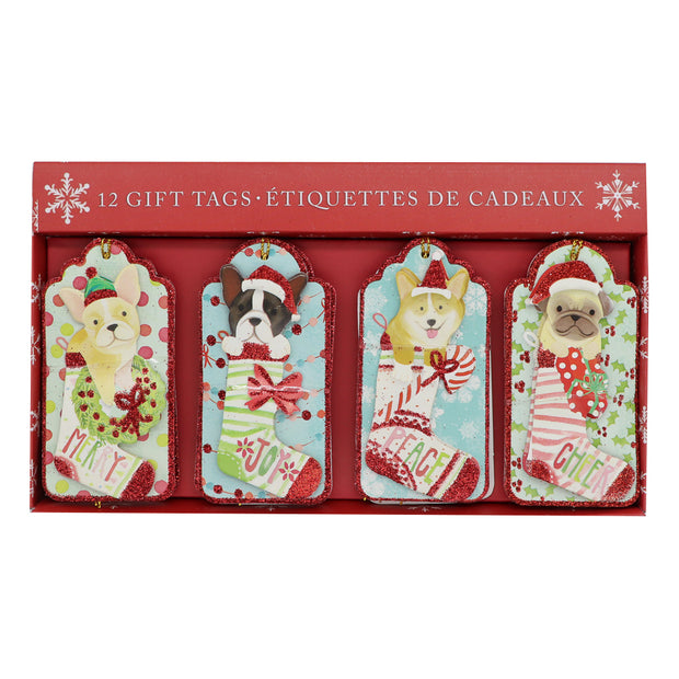 Christmas Dog-themed Gift Tags - 12pcs