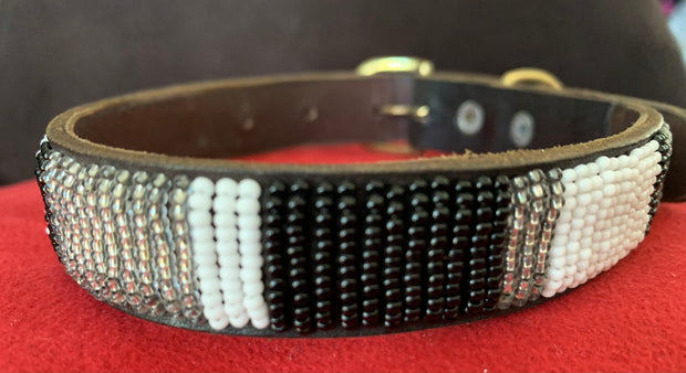 Dog collar made in Africa: Brown leather w/Silver, black & white European glass beads