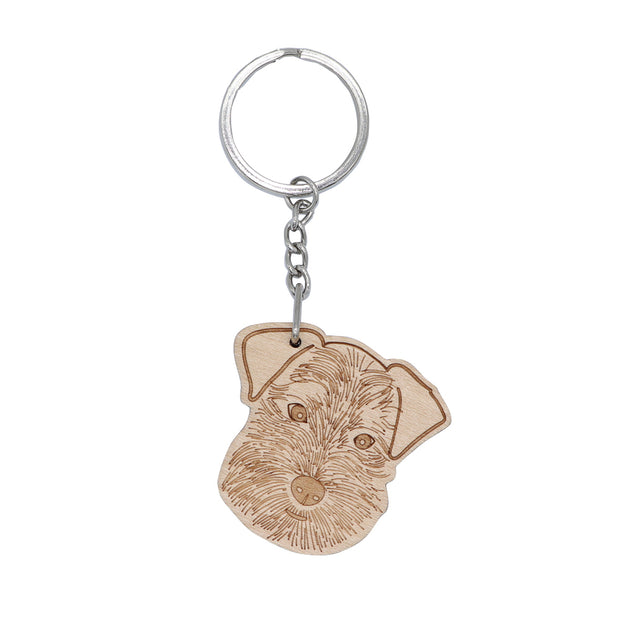 Schnauzer - Wooden Key ring
