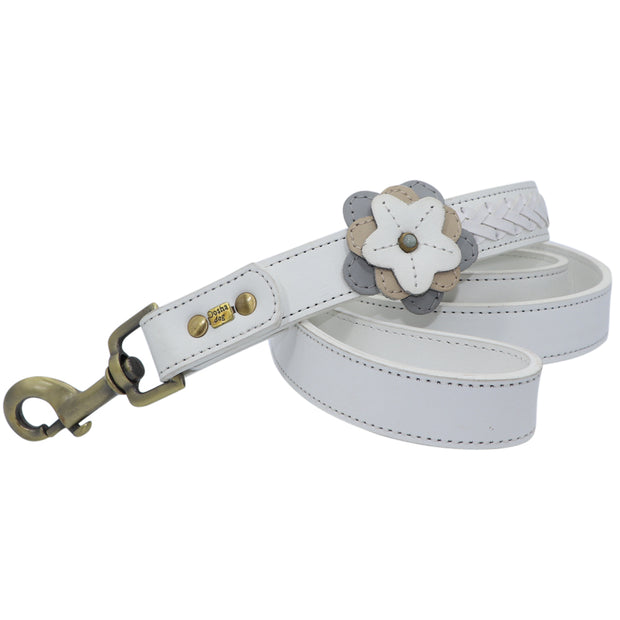Dog Leash with flower motif - wide