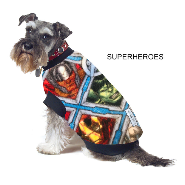 Dog Skivvy - Superheros Print: anti-pill polar fleece - Yap Wear Store Albert Park | Pet Boutique