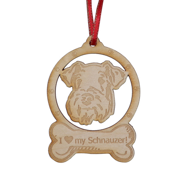 I love my Schnauzer - laser handmade Christmas ornament