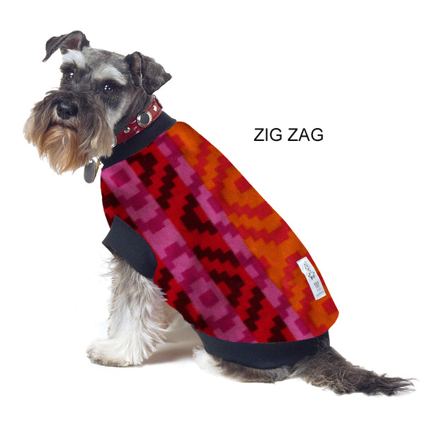 Dog Skivvy - Zig Zag Print: anti-pill polar fleece - Yap Wear Store Albert Park | Pet Boutique