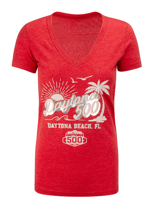 Ladies 2020 DAYTONA 500 Daytona Beach V-Neck T-Shirt