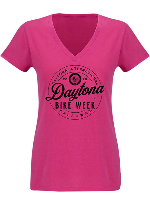 Ladies Daytona International Speedway Bike Week V-Neck T-Shirt