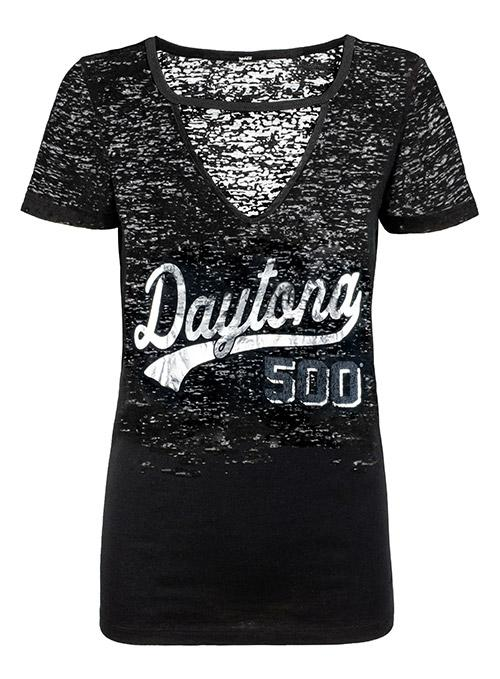 Ladies DAYTONA 500 Cutout V Neck Burnout T-Shirt