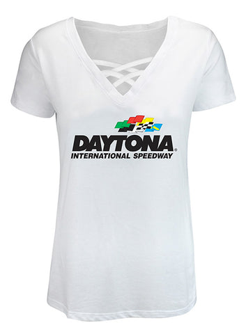 Ladies DAYTONA 500 Cold Shoulder Scoop T-Shirt
