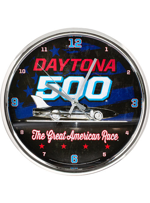Daytona 500 Chrome Wall Clock