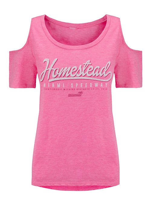 Ladies Homestead-Miami Speedway Cold Shoulder T-Shirt