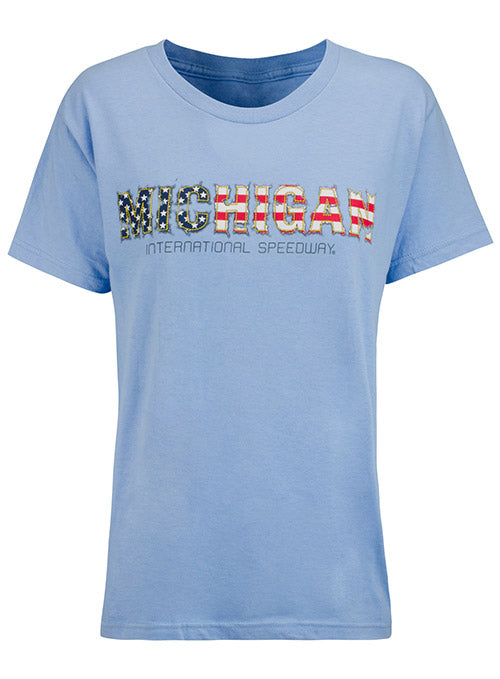 Ladies Michigan International Speedway Patriotic T-Shirt
