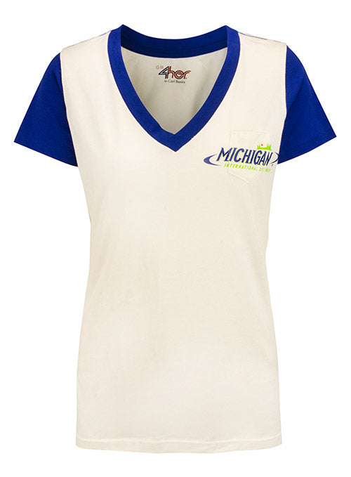 Ladies Michigan International Speedway Blue Sleeve T-Shirt
