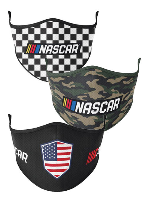 3-Pack Reusable NASCAR Face Coverings