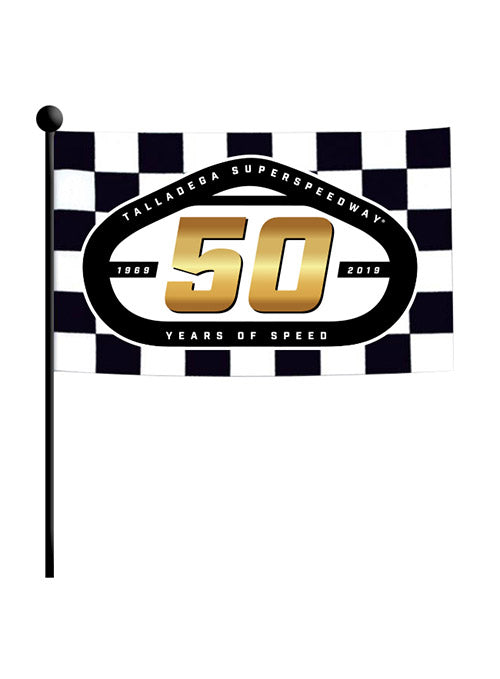 Talladega Superspeedway 50th Anniversary Checkered Stick Flag