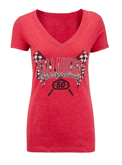 Ladies 2019 Talladega Superspeedway 50th Anniversary V-Neck T-Shirt