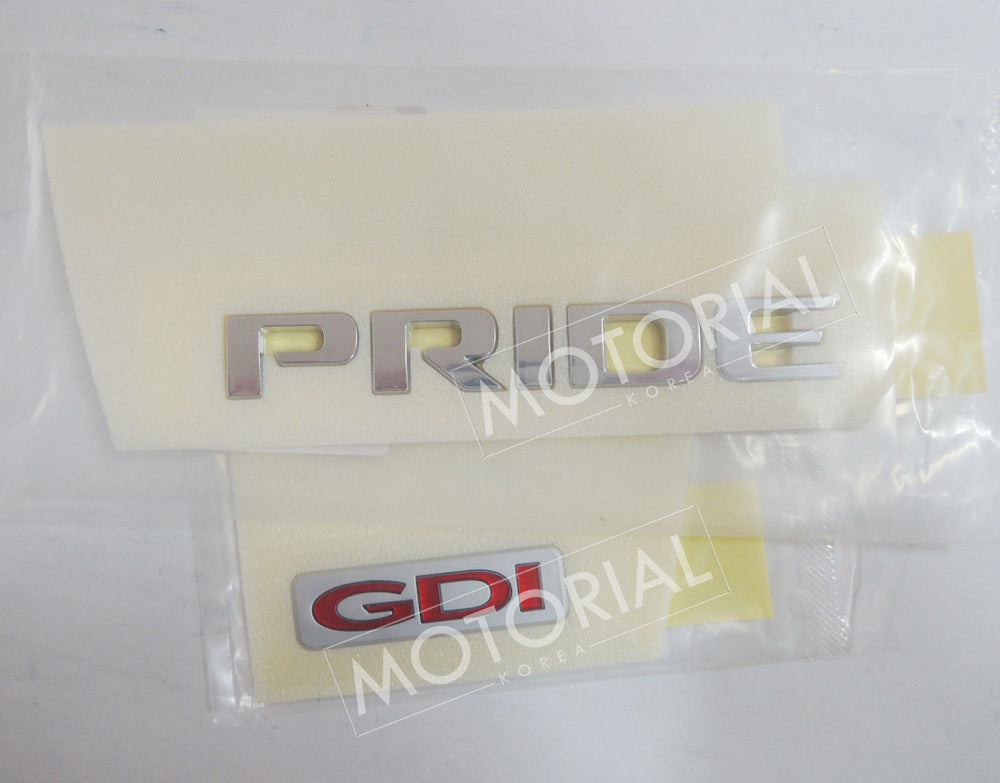 2012-2017 KIA RIO / PRIDE Genuine OEM Rear Trunk PRIDE + GDI Emblem Set