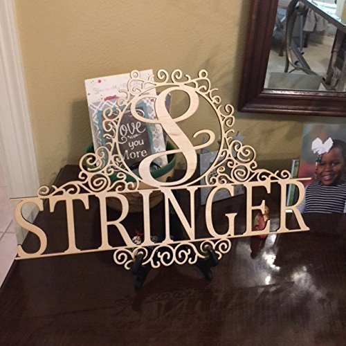 Personalized 18 inch Family Last Name Sign, Wall or Door Hanging with Script Initial