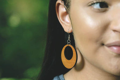 Wood Offset Hoop Earrings from Natural Reclaimed Mahogany
