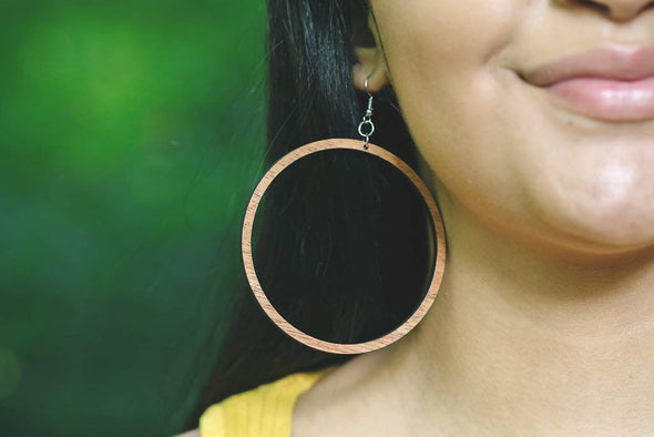 Large 3 Inch Wood Hoop Earrings from Natural Reclaimed Mahogany