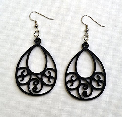Teardrop Open Scrolled Wood Earrings from Solid Black Maple Wood