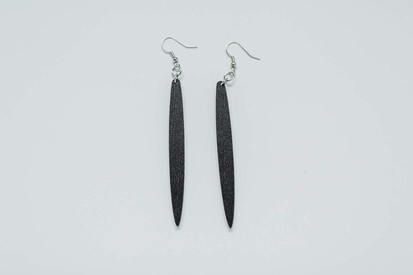 Icicle Shape Long Skinny Wood Earrings from Reclaimed Black Stained Maple